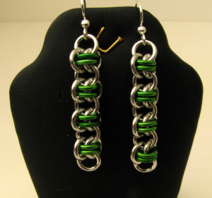 Earrings - Green Barrel Weave